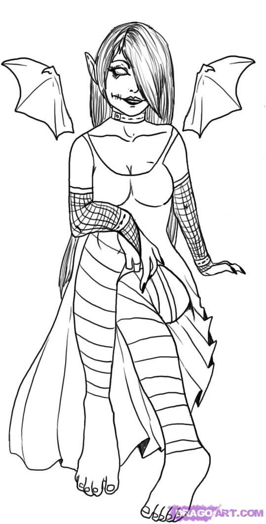 Goth Coloring Book  How To Draw A Gothic Elf Girl Step by Step Elves