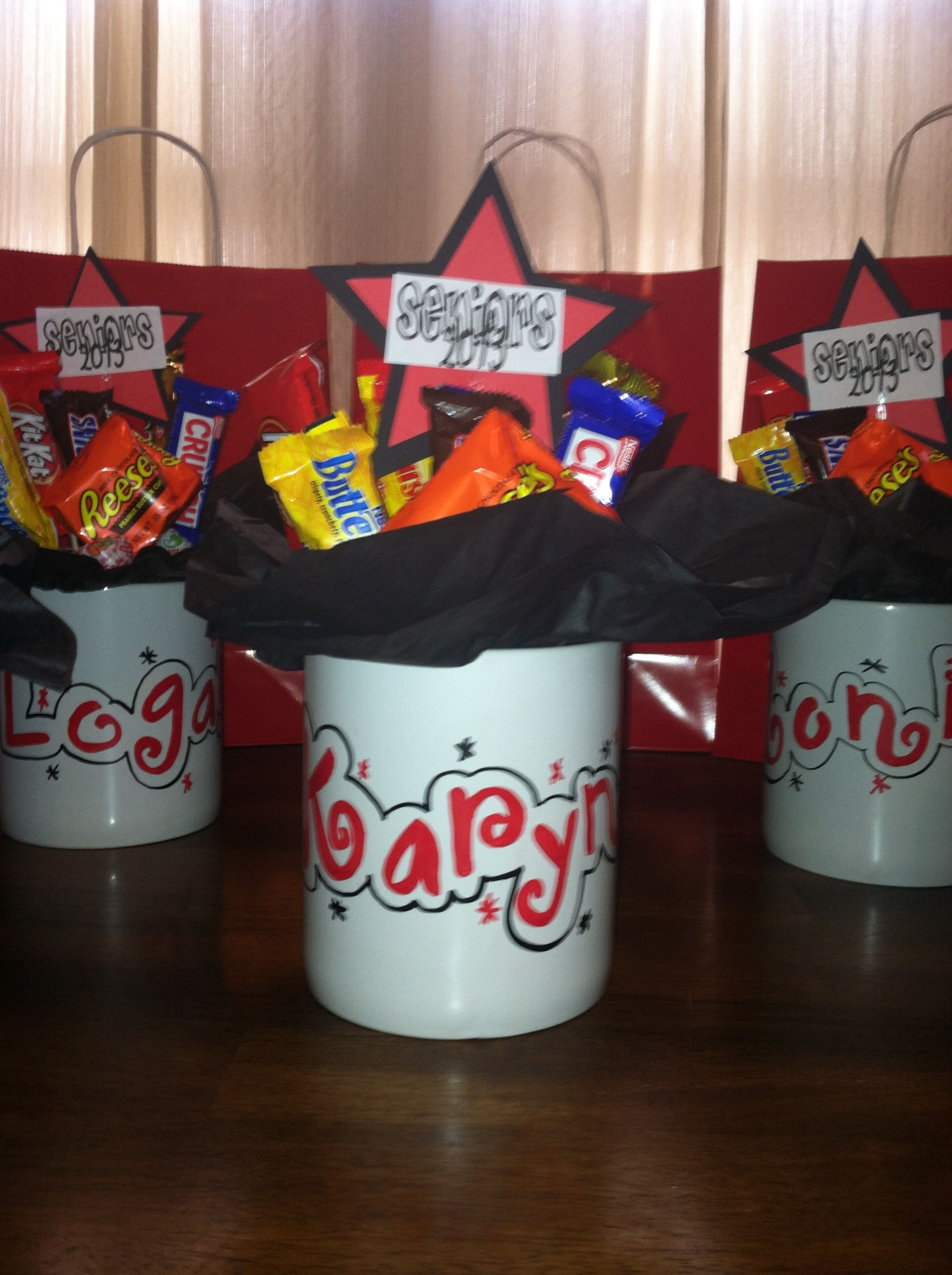 Graduation Gift Ideas For High School Seniors  Personalized candy bouquet mugs for high school senior