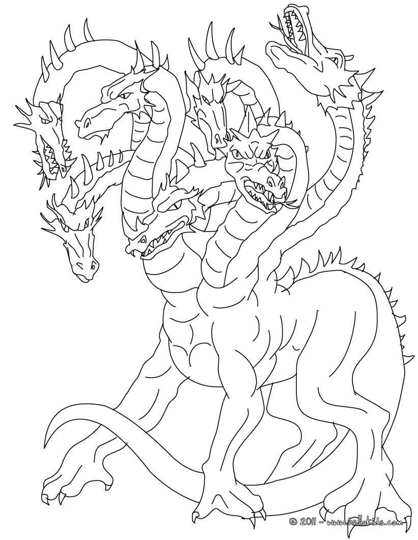 Best ideas about Greek Mythology Coloring Sheets For Kids . Save or Pin Lernean hydra the 100 heads water dragon coloring pages Now.