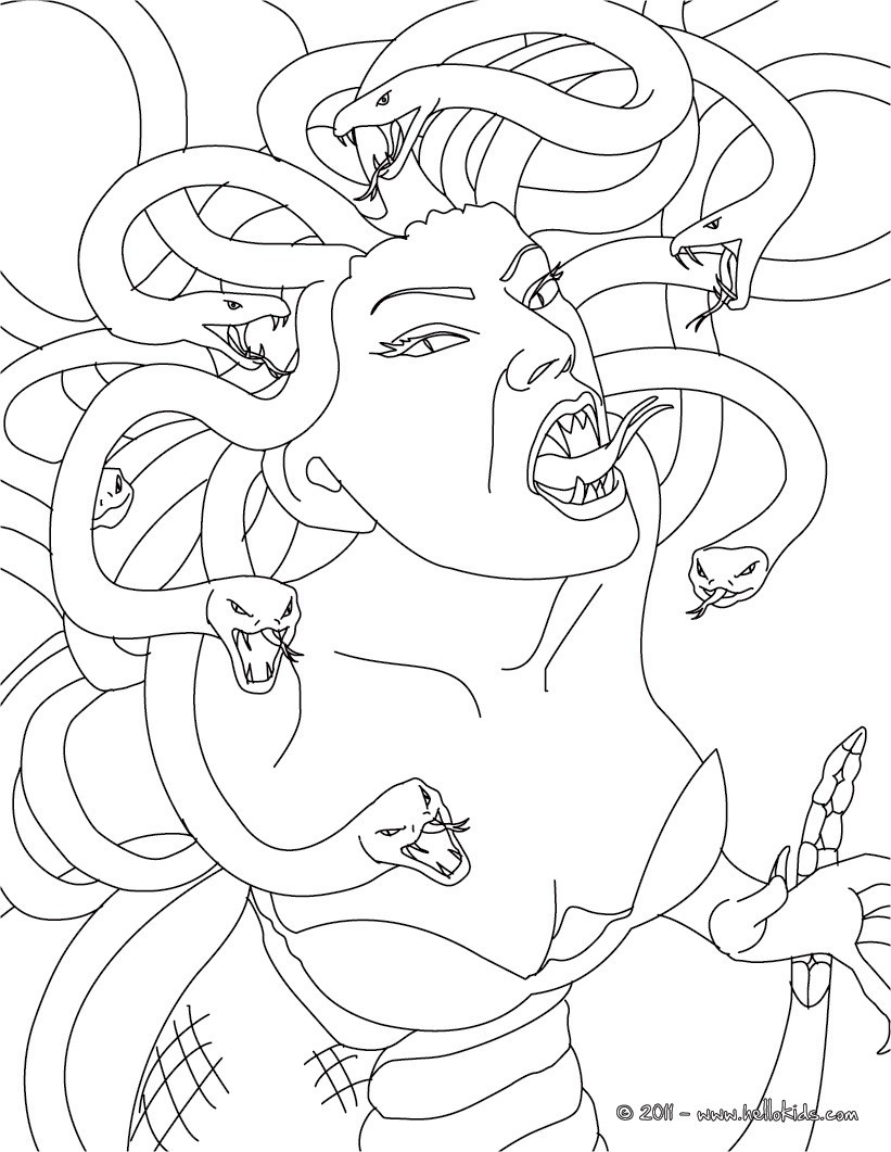 Best ideas about Greek Mythology Coloring Sheets For Kids . Save or Pin Medusa the gorgon with snake hair coloring pages Now.