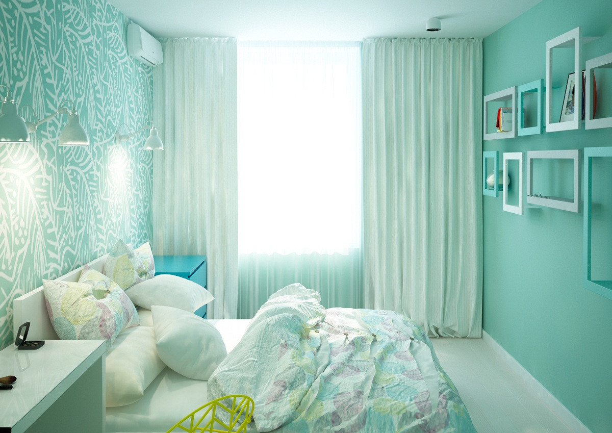 Best ideas about Green Bedroom Ideas . Save or Pin Two Cheerful Apartments with Creative Storage and Splashes Now.