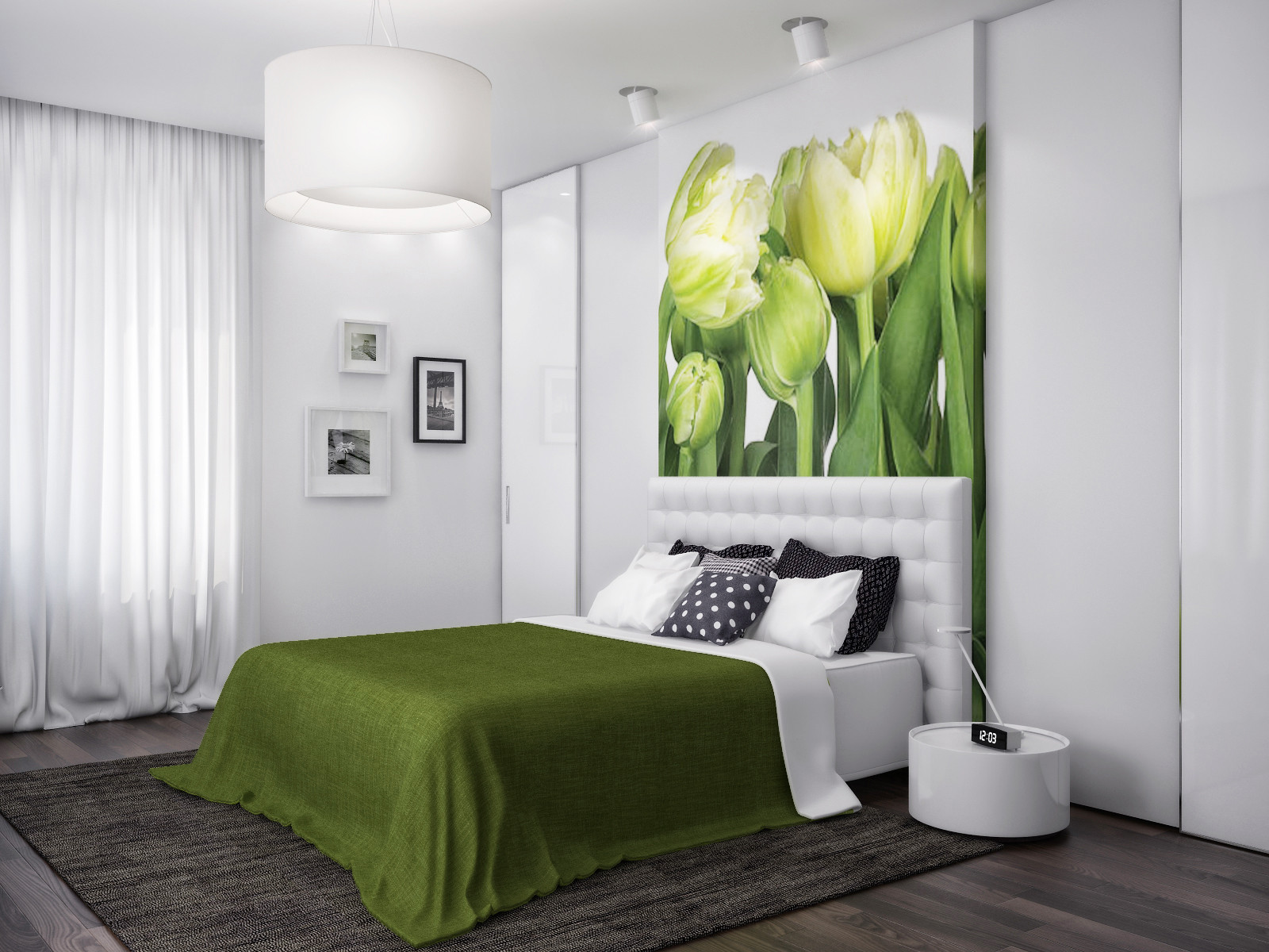 Best ideas about Green Bedroom Ideas . Save or Pin Green white nature bedroom Now.