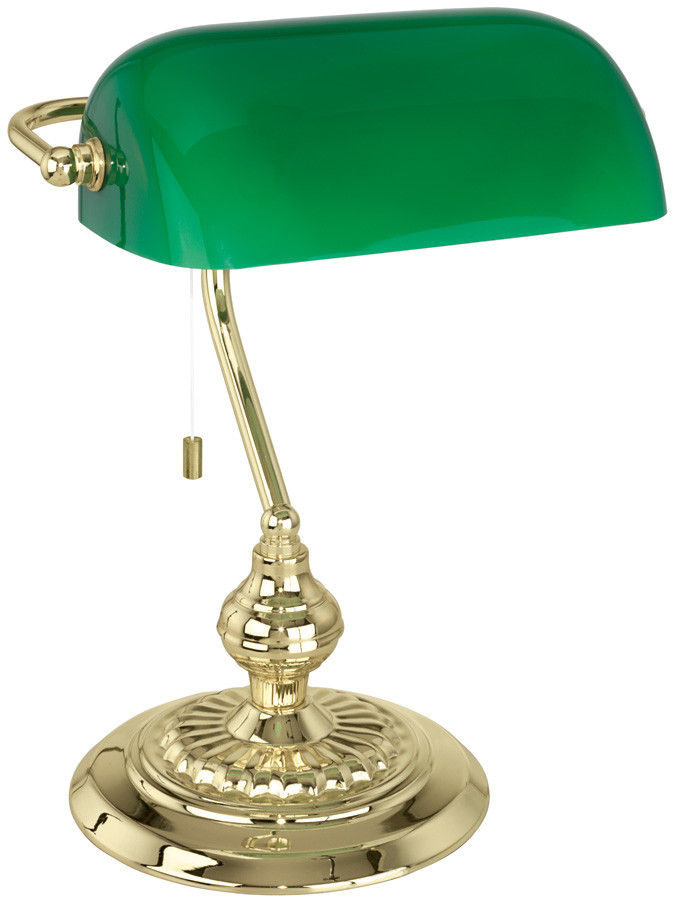 Best ideas about Green Desk Lamp . Save or Pin Traditional Polished Brass Banker Desk Lamp With Green Now.