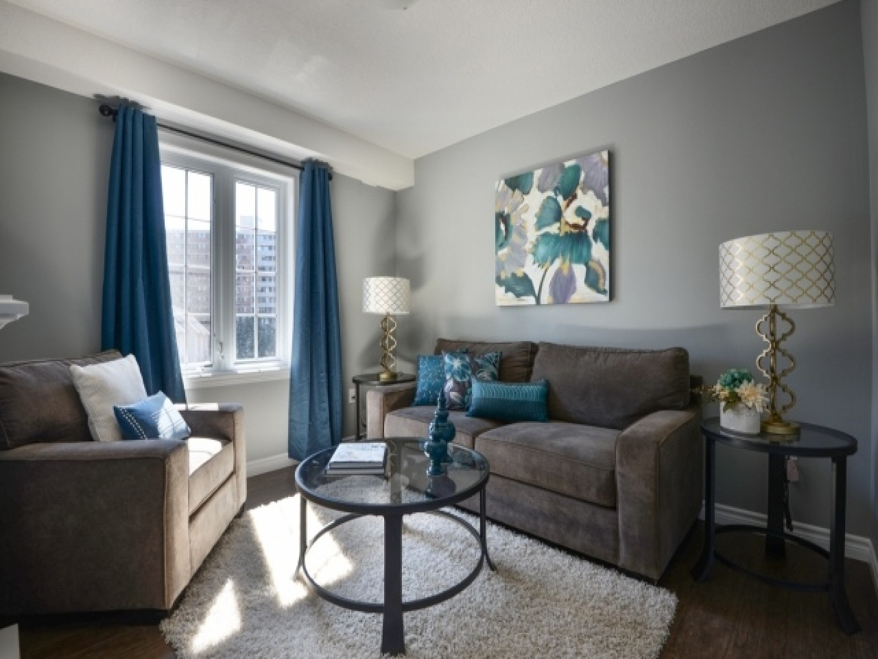 Best ideas about Grey Accent Wall Living Room . Save or Pin Orange Blue And Grey Living Room Now.