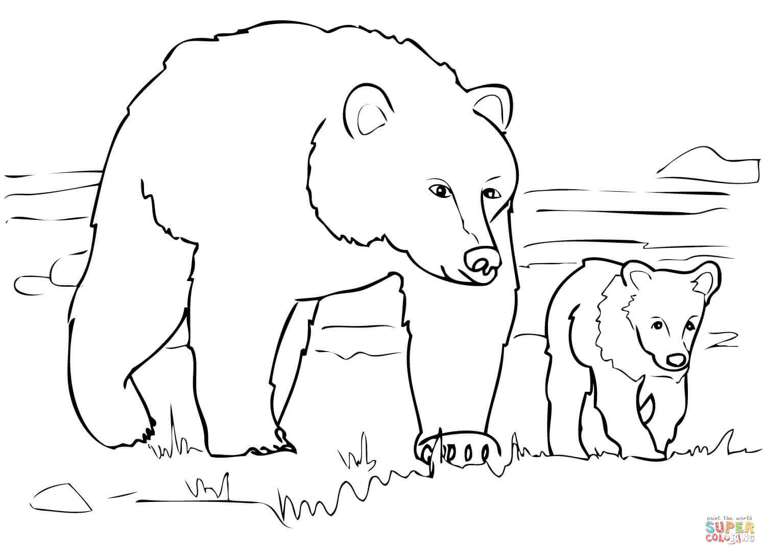 Grizzly Bear Coloring Pages For Kids  Grizzly Bear Family coloring page
