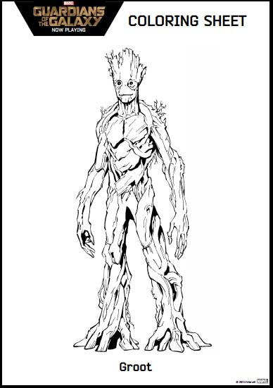 Groot Coloring Pages  Guardians of the Galaxy Coloring Pages and activity kit
