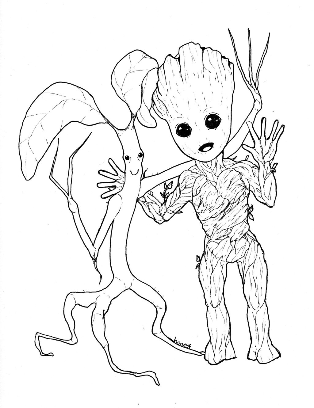 Groot Coloring Pages  Picket Baby Groot by honeyf on DeviantArt