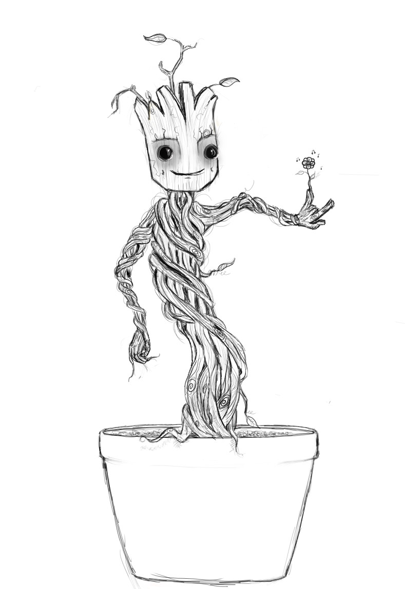 Groot Coloring Pages  We Are Groot Outline by SecretAgtPanda on DeviantArt