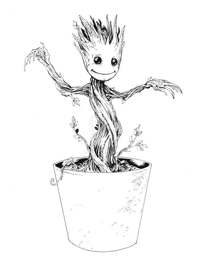 Groot Coloring Pages  Coloring pages Groot printable for kids & adults free