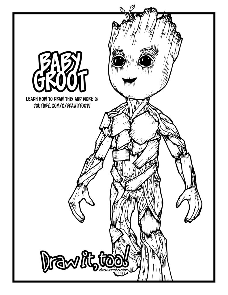 Groot Coloring Pages  Baby Groot Guardians of the Galaxy Vol 2 Drawing