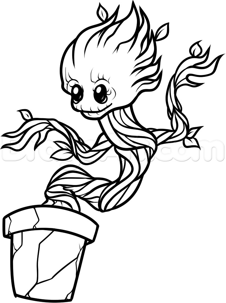 Groot Coloring Pages  Draw Baby Groot Step by Step Drawing Sheets Added by