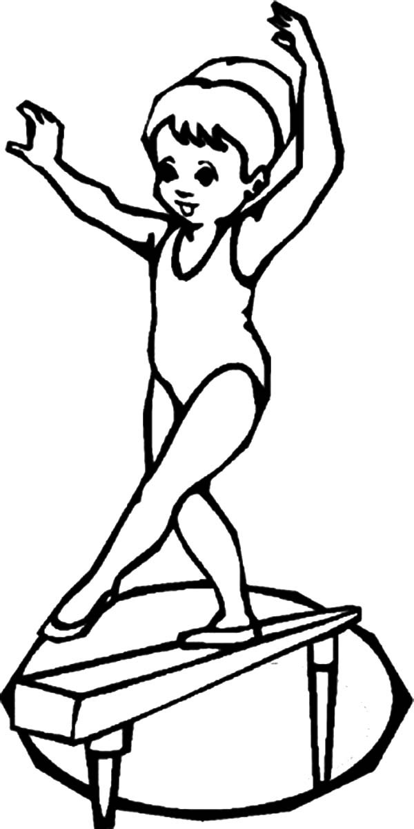 Gymnastics Coloring Pages For Girls  Gymnastics coloring pages girl on balance beam ColoringStar