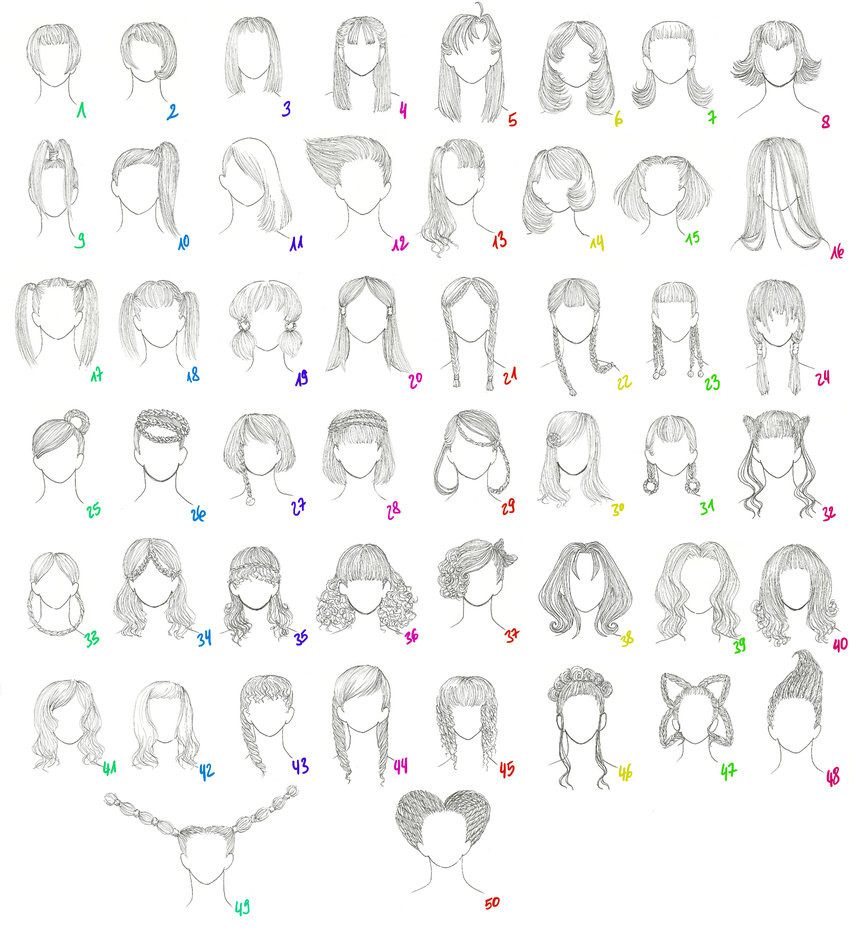 Hairstyles Anime  50 Female Anime Hairstyles by AnaisKalinin on DeviantArt