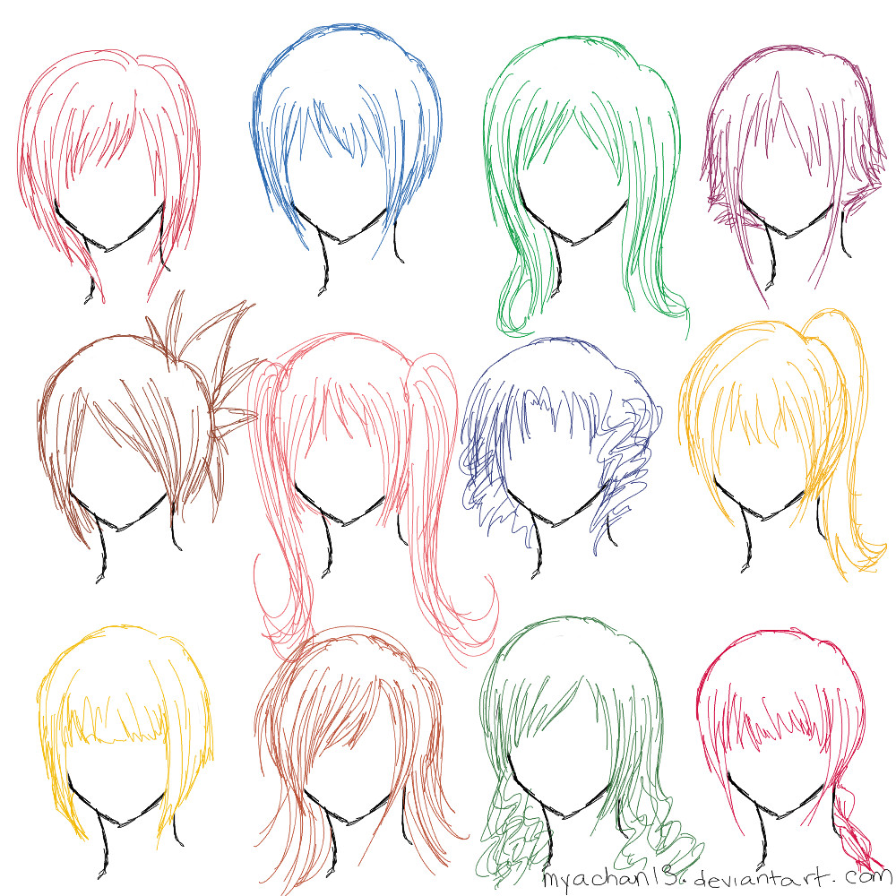 Hairstyles Anime  Hair Ref 12 Hairstyles by MyaChan13 on DeviantArt