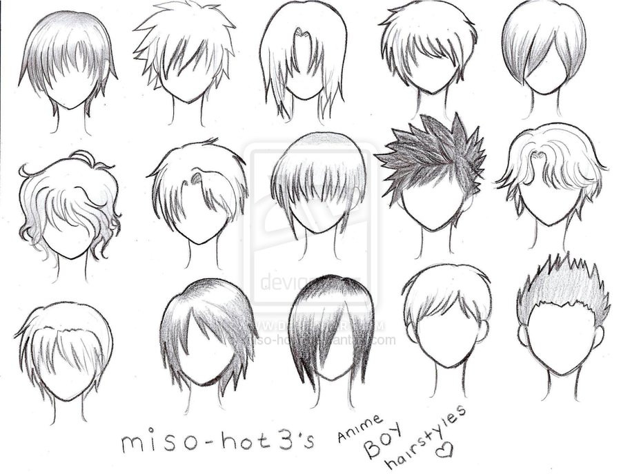 Best ideas about Hairstyles Drawing Male . Save or Pin ANIME BOY HAIRSTYLES = by pmtrix on DeviantArt Now.