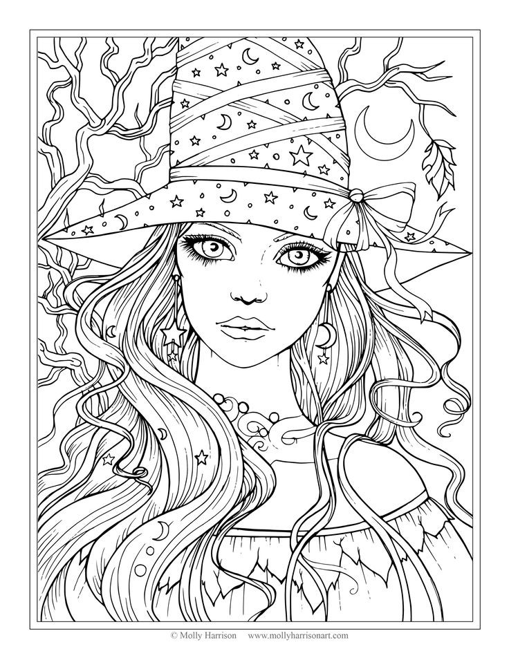 Halloween Coloring Pages For Girls 15 And Up  Free Printable Grown Up Coloring Pages Halloween Disney