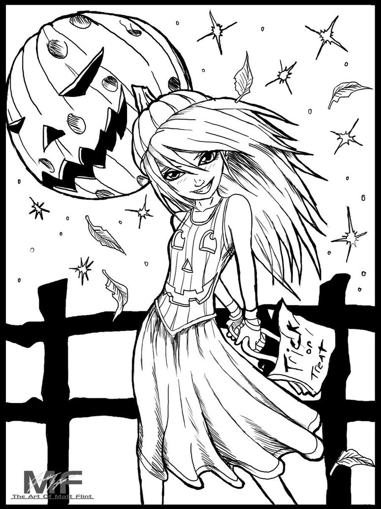 Halloween Coloring Pages For Girls  Pumpkin Girl kids coloring page by Matt Flint on DeviantArt