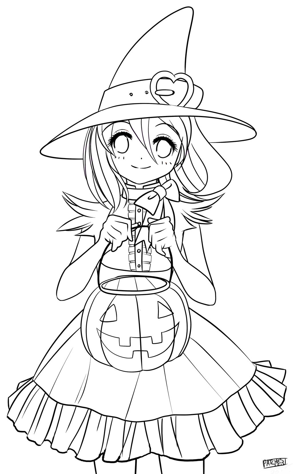 Halloween Coloring Pages For Girls  Anime Halloween Coloring Pages – Festival Collections