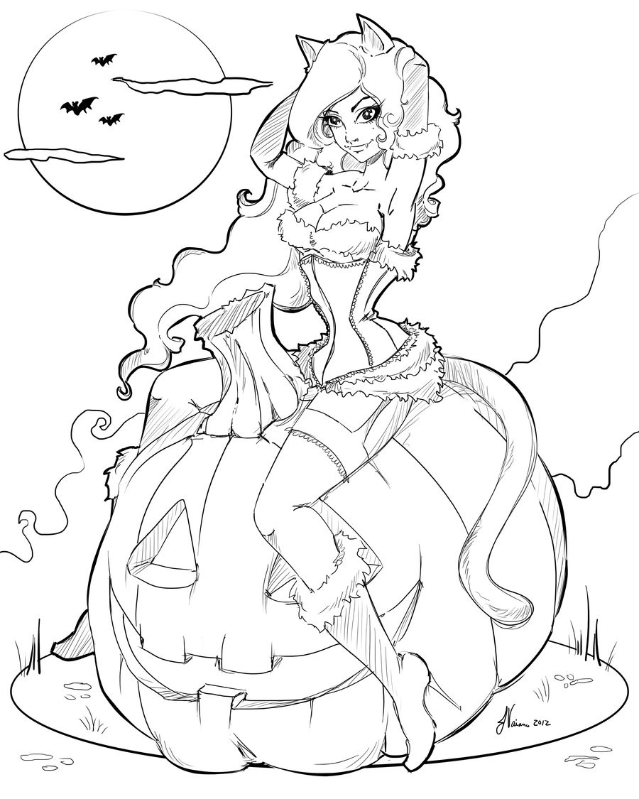 Halloween Coloring Pages For Girls  Line work Halloween 2012 by NoFlutter on DeviantArt