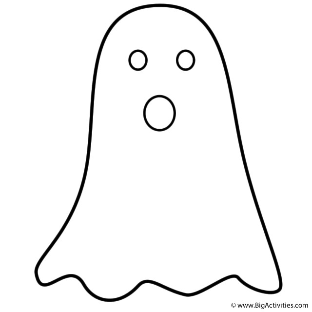 Halloween Ghost Coloring Pages  Simple Ghost Coloring Page Halloween