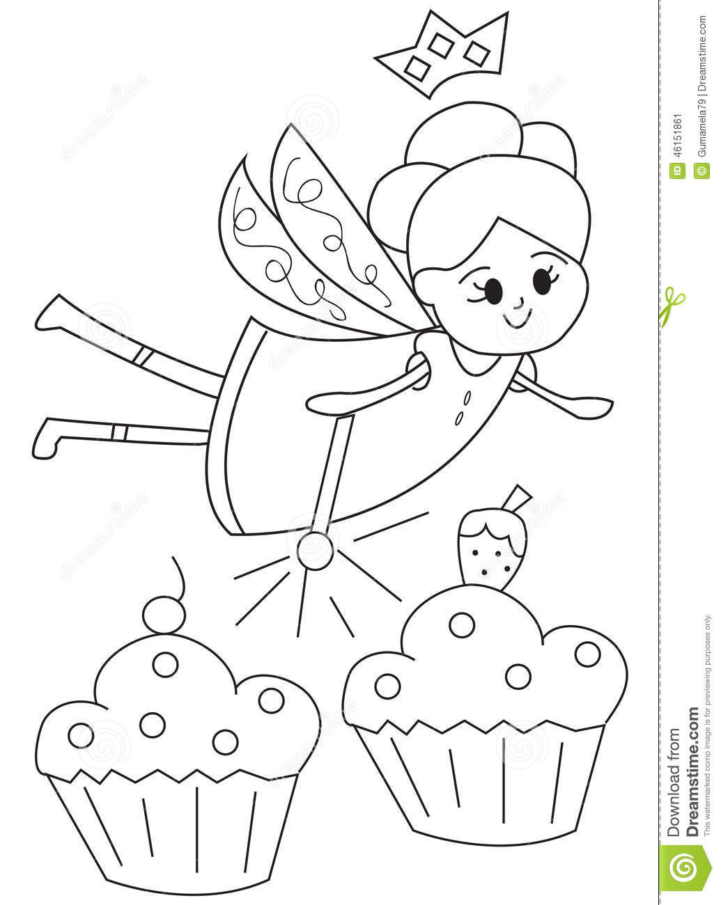 Hand Drawn Coloring Pages  Hand Drawn Coloring Page A Fairy With Cupcakes Stock