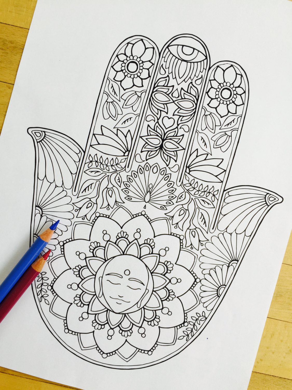 Hand Drawn Coloring Pages  Hamsa Meditation Hand Drawn Adult Coloring Page Print