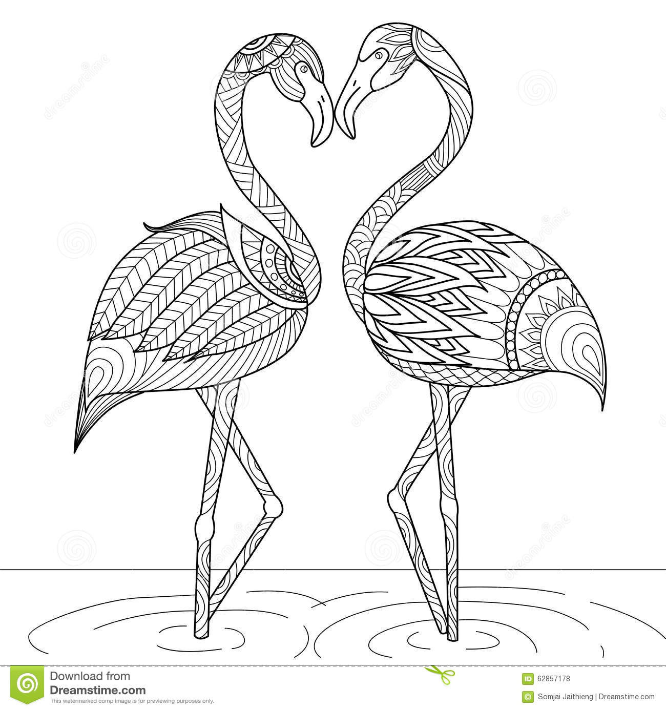 Hand Drawn Coloring Pages  Hand Drawn Flamingo Couple Zentangle Style Stock Vector