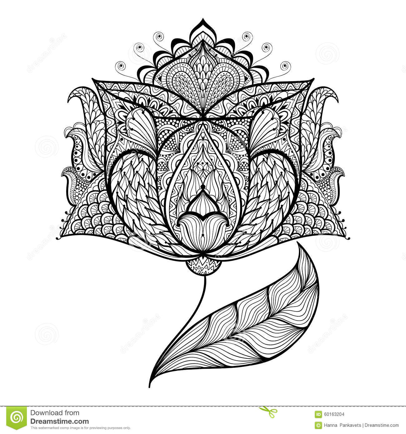 Hand Drawn Coloring Pages  Hand Drawn Magic Flower For Antistress Coloring Page Stock