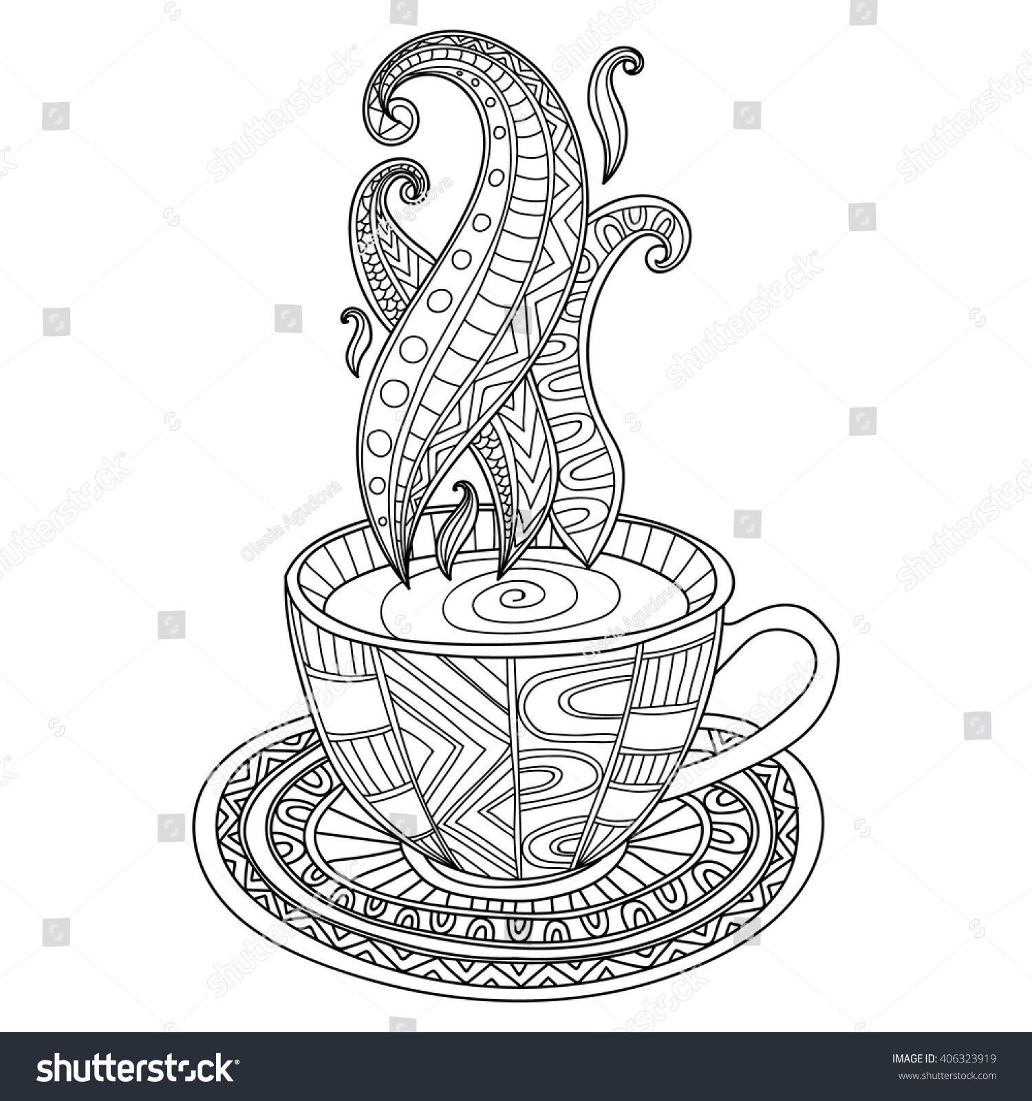 Hand Drawn Coloring Pages  Vector Coffee Tea Cup Abstract Ornaments Stock Vector