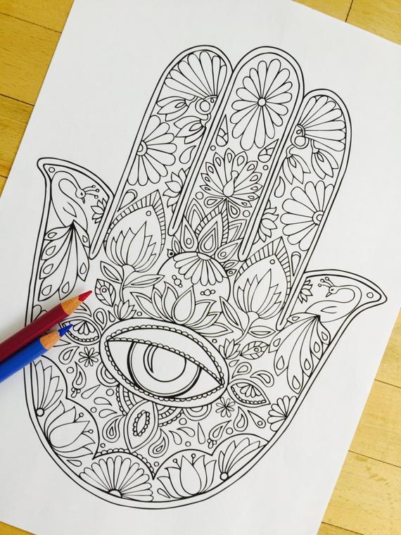 Hand Drawn Coloring Pages  Hamsa Eye Hand Drawn Adult Coloring Page Print