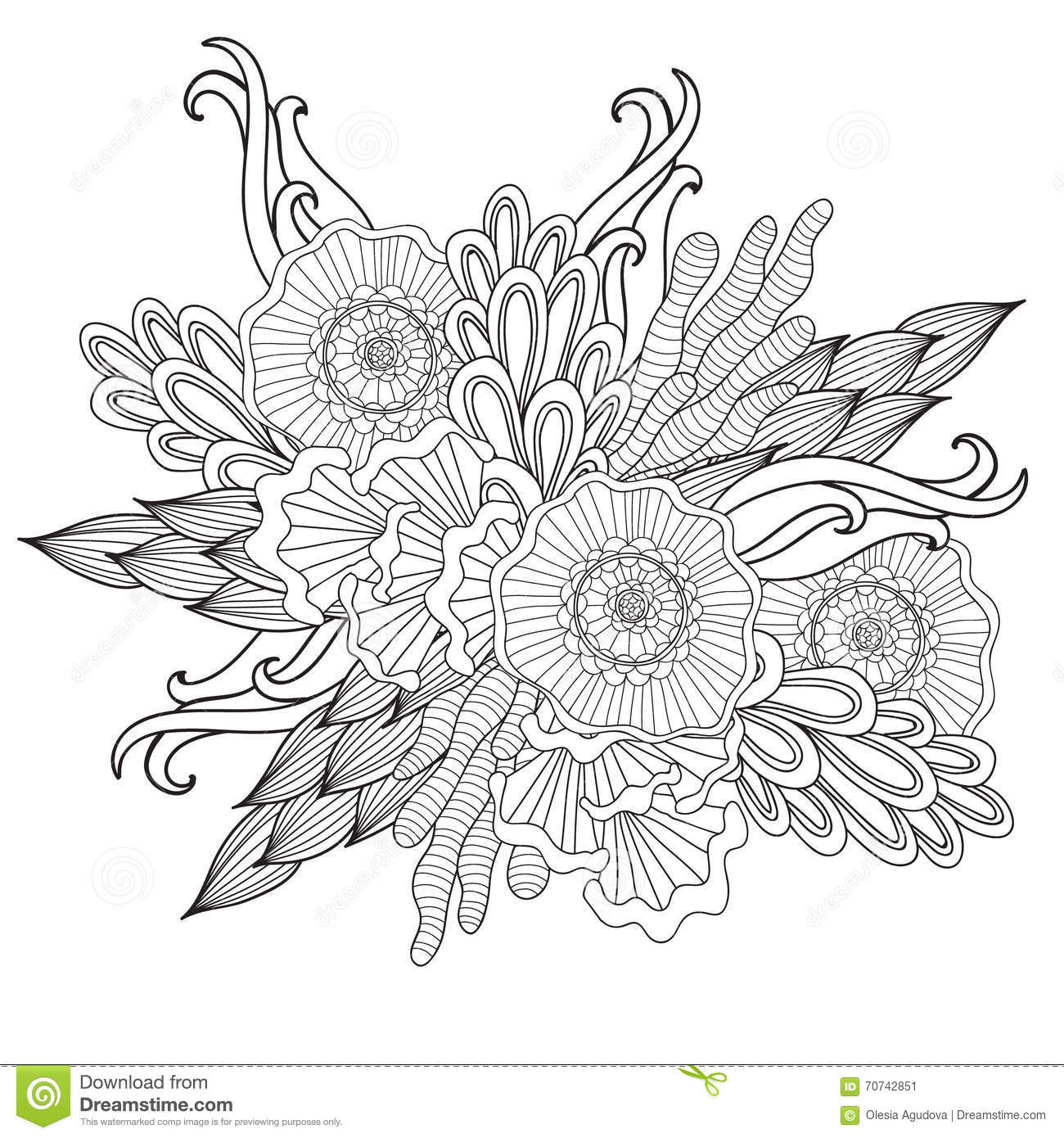 Hand Drawn Coloring Pages  Hand Drawn Artistic Ethnic Ornamental Patterned Floral