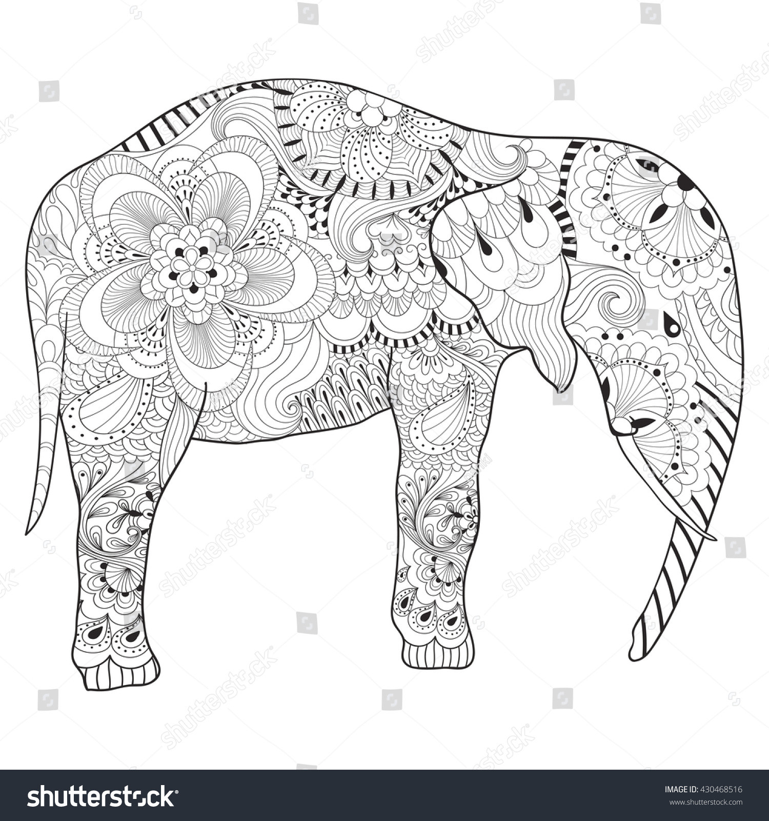 Hand Drawn Coloring Pages  Hand Drawn Zentangle Elephant Mandala Adult Stock Vector