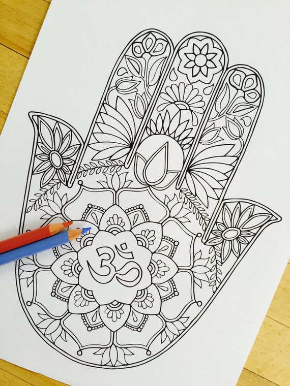 Hand Drawn Coloring Pages  Hamsa Om Hand Drawn Adult Coloring Page Print