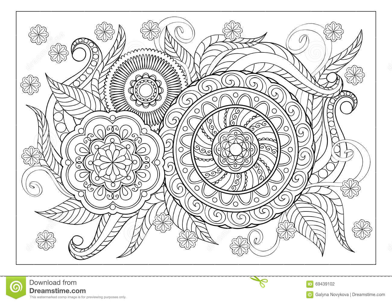 Hand Drawn Coloring Pages  Image For Adult Coloring Page Stock Vector Image