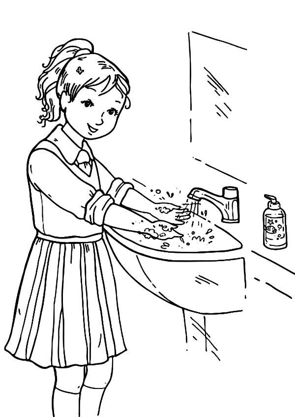 Handwashing Coloring Pages  Hand Washing Coloring Pages Bestofcoloring