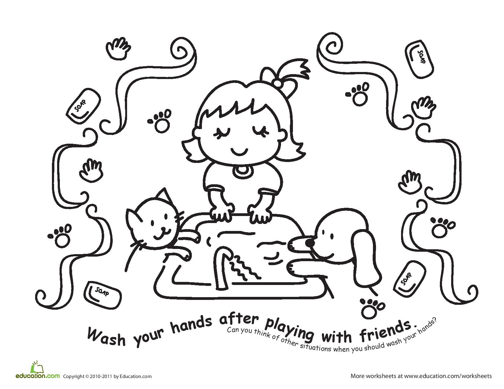 Handwashing Coloring Pages  6 Hygiene Worksheets – Good and Clean Fun