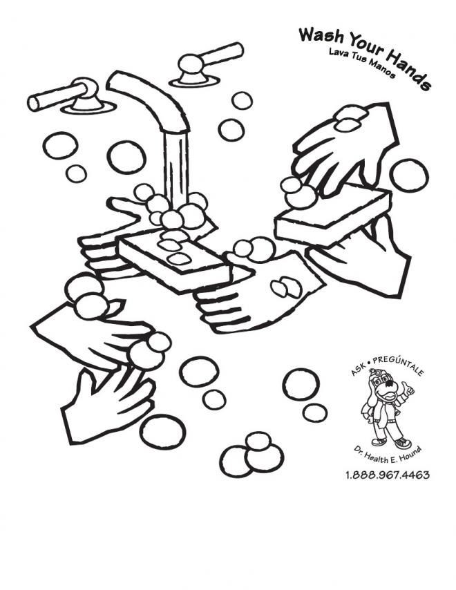 Handwashing Coloring Pages  Hand Washing For Kids Coloring Pages Coloring Home