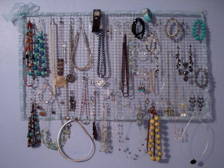 Hanging Jewelry Organizer DIY  Bedroom Creative DIY Jewelry Organizer