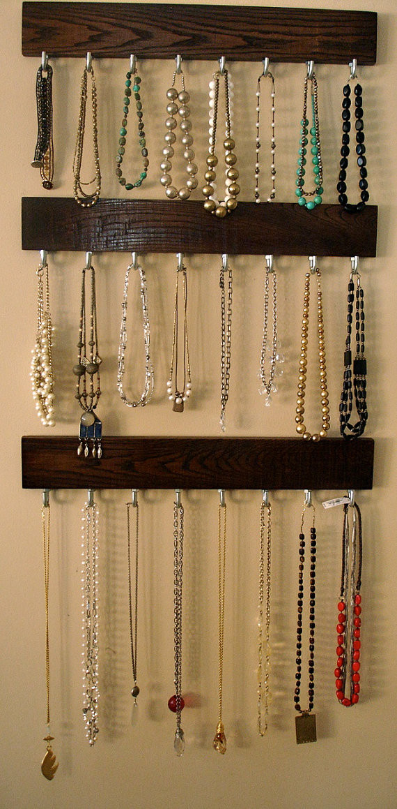 Hanging Jewelry Organizer DIY  Hanging Jewelry Organizer Home Decorating DIY