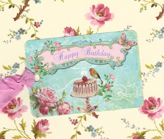 Best ideas about Happy Birthday Shabby Chic . Save or Pin Items similar to Gift Tags Happy Birthday Shabby Chic Now.