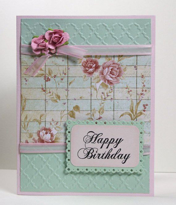 Best ideas about Happy Birthday Shabby Chic . Save or Pin Birthday Handmade Card Happy Birthday Card Shabby Chic Now.