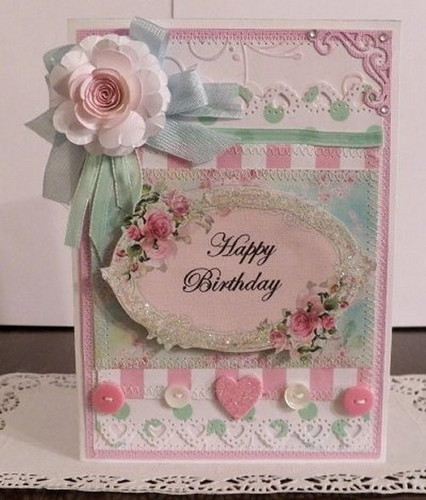 "Best ideas about Happy Birthday Shabby Chic . Save or Pin Shabby chic Handmade ""Happy Birthday"" 2 card Sewn and Now."