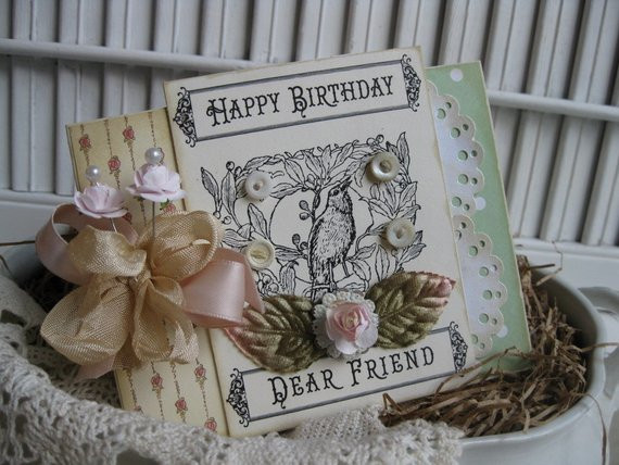 Best ideas about Happy Birthday Shabby Chic . Save or Pin shabby chic bird HAPPY BIRTHDAY DEAR friend handmade card Now.