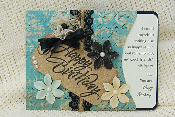 Best ideas about Happy Birthday Shabby Chic . Save or Pin Items similar to Handmade Shabby Chic Happy Birthday Card Now.