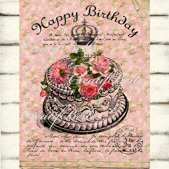 Best ideas about Happy Birthday Shabby Chic . Save or Pin Victorian Shabby Chic Happy Birthday Cake Roses Instant Now.
