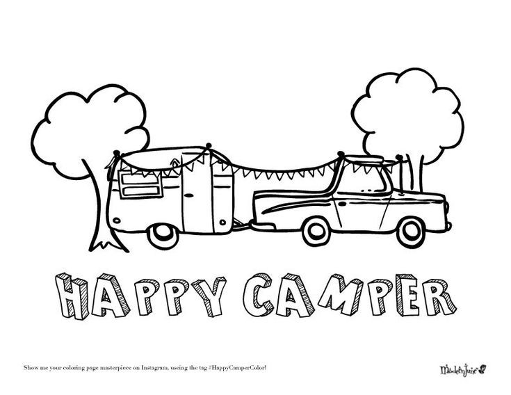 Happy Campers Coloring Book  Happy Camper Coloring Page by Modern June