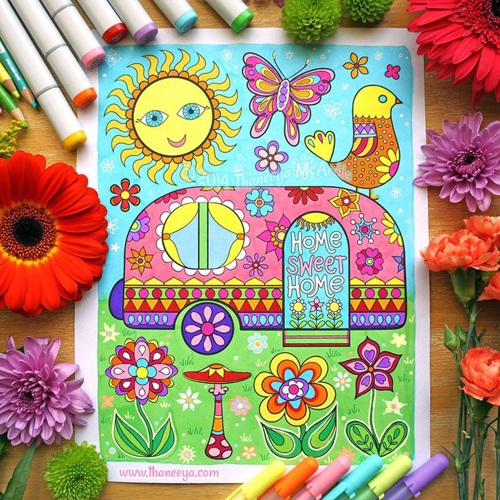 Happy Campers Coloring Book  Happy Campers Coloring Book by Thaneeya McArdle