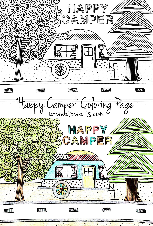 Happy Campers Coloring Book  Happy Camper Coloring Page