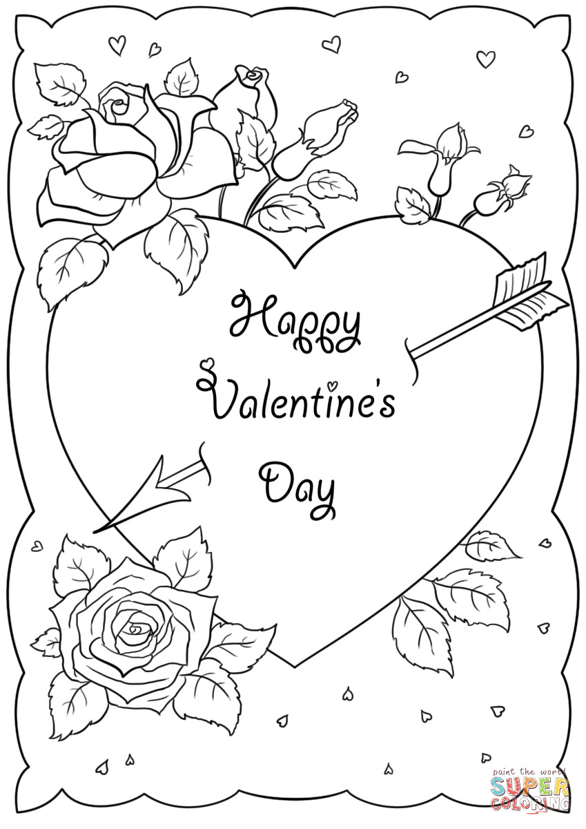 Happy Valentines Day Coloring Pages  Happy Valentine s Day Card coloring page