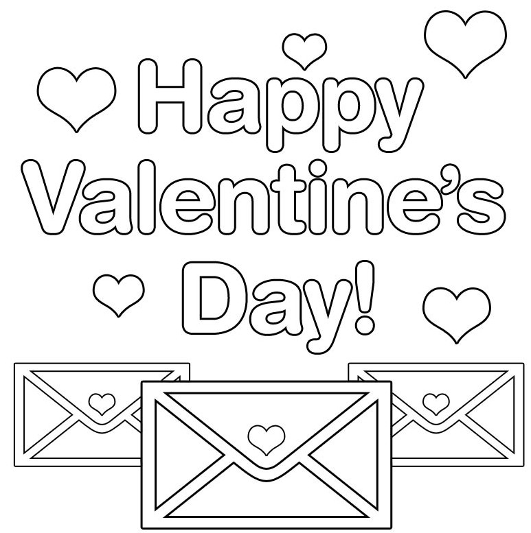 Happy Valentines Day Coloring Pages  Printable happy valentines day coloring page
